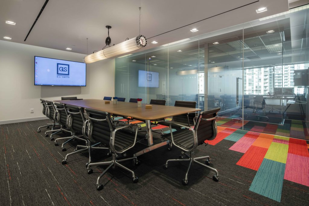 Boardroom with Herman Miller Eames Soft Pad Aluminum Chairs by Workspace Group (WSG)